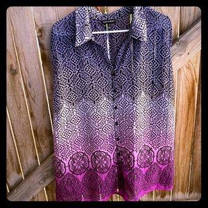 Fashion Bug sleeveless blouse abstract plus 3X
